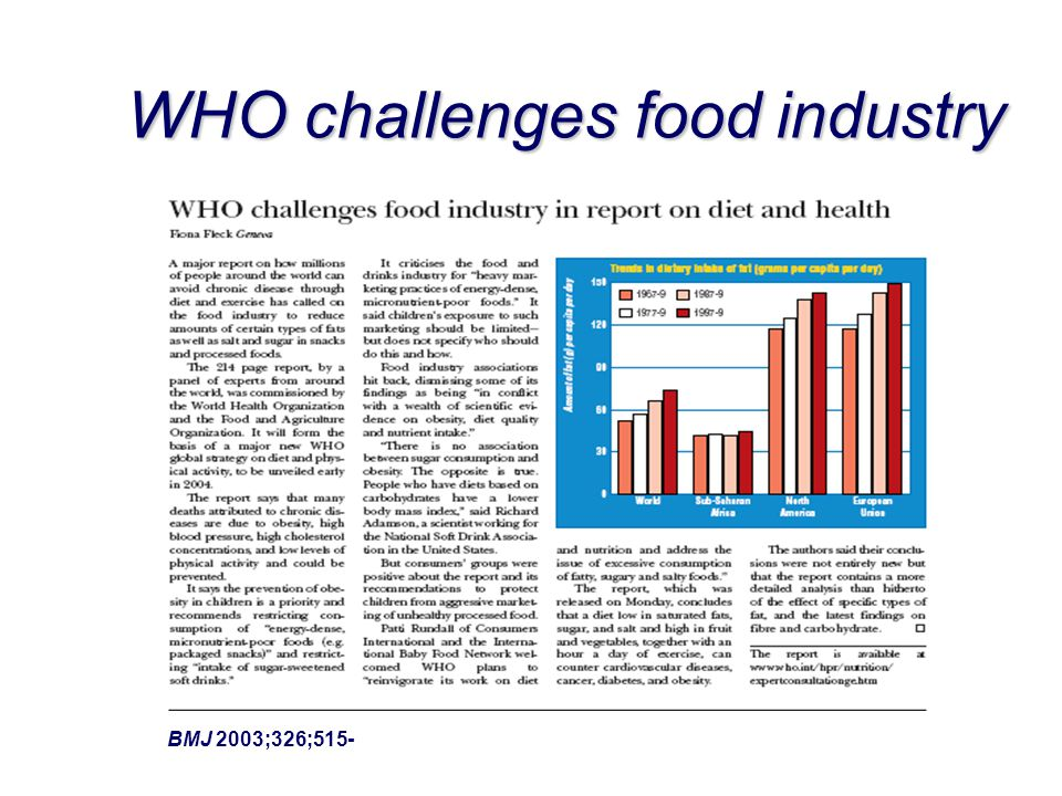 WHO challenges food industry BMJ 2003;326;515-