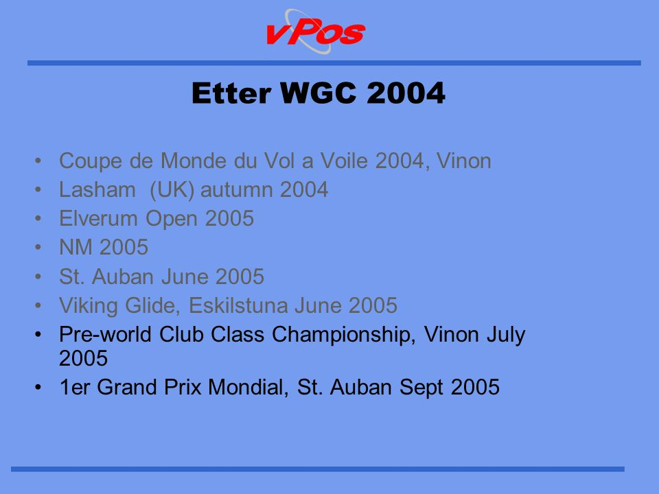 Coupe de Monde du Vol a Voile 2004, Vinon •Had 5 trackers installed every day in different classes •No internet connection onsite, therefore no local visualisation •Main object was to test abroad functionality •Extremely pleased with results, our server received signals almost continuously from all vP trackers •A demo video is available on our web site, powerful example of seeing is believeing