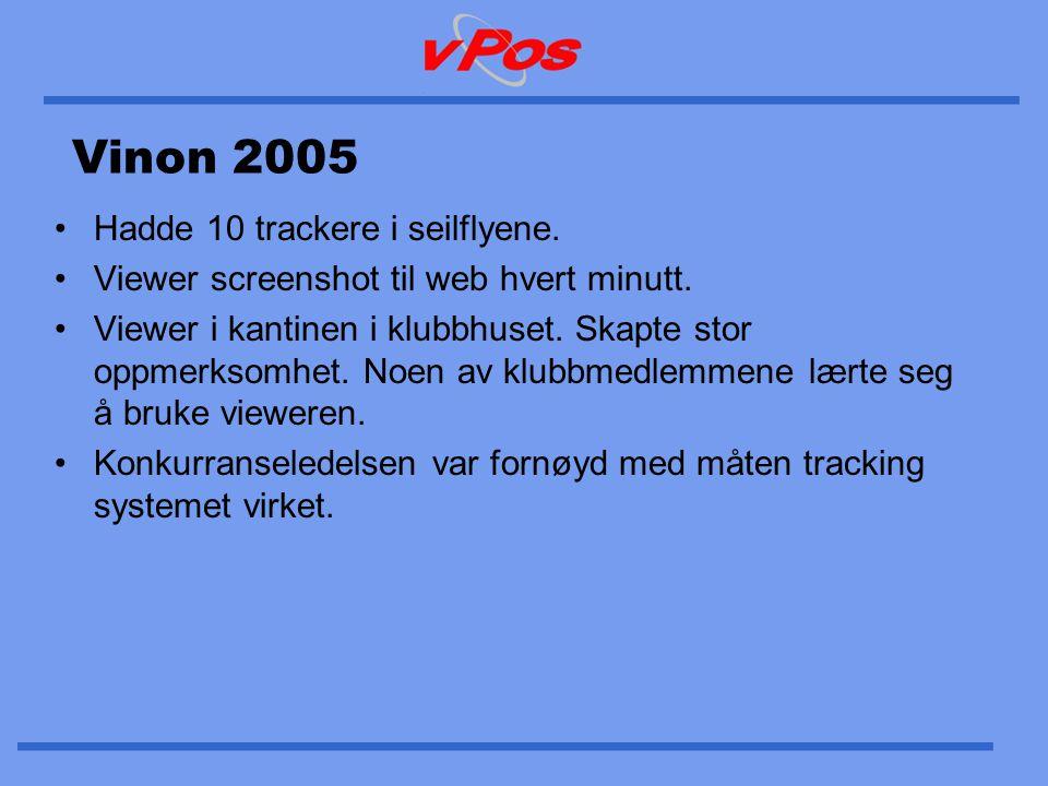 Vinon 2005 •Hadde 10 trackere i seilflyene. •Viewer screenshot til web hvert minutt. •Viewer i kantinen i klubbhuset. Skapte stor oppmerksomhet. Noen