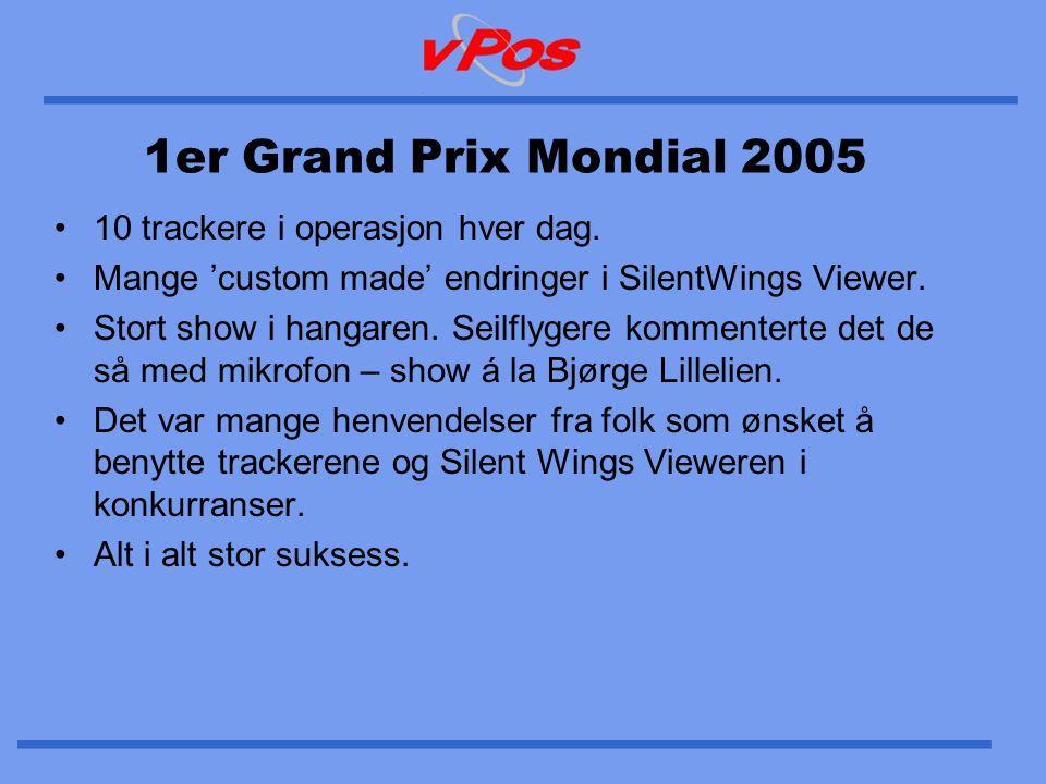 1er Grand Prix Mondial 2005 •10 trackere i operasjon hver dag. •Mange 'custom made' endringer i SilentWings Viewer. •Stort show i hangaren. Seilflyger