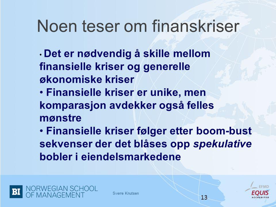 Noen teser om finanskriser Sverre Knutsen 13 • Det er nødvendig å skille mellom finansielle kriser og generelle økonomiske kriser • Finansielle kriser
