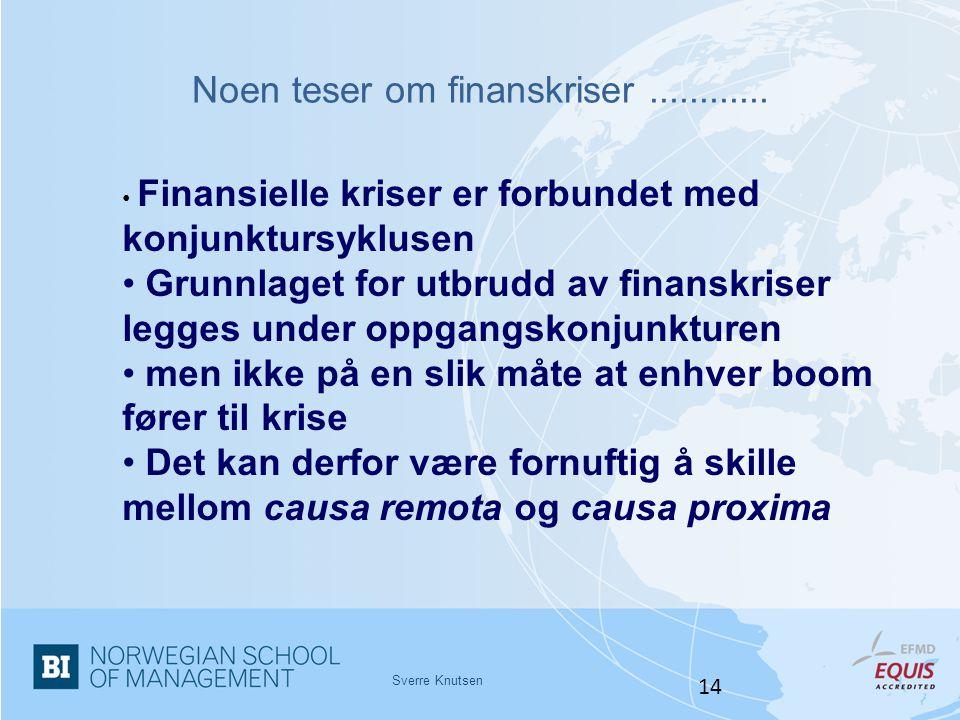 Noen teser om finanskriser............ Sverre Knutsen 14 • Finansielle kriser er forbundet med konjunktursyklusen • Grunnlaget for utbrudd av finanskr