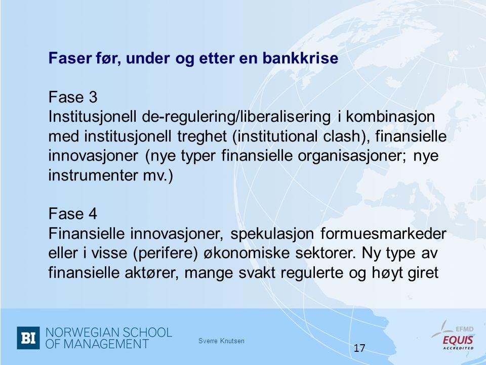 Sverre Knutsen 17 Faser før, under og etter en bankkrise Fase 3 Institusjonell de-regulering/liberalisering i kombinasjon med institusjonell treghet (