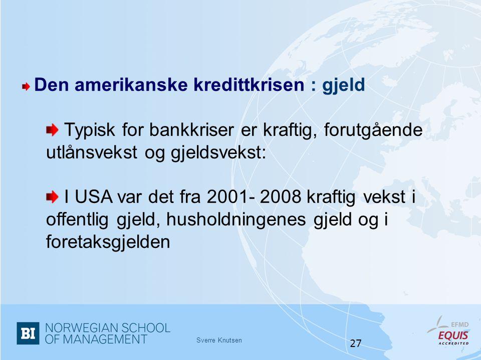Sverre Knutsen 27 Den amerikanske kredittkrisen : gjeld Typisk for bankkriser er kraftig, forutgående utlånsvekst og gjeldsvekst: I USA var det fra 20