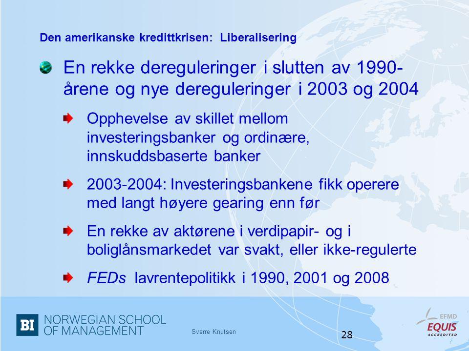 Sverre Knutsen 28 Den amerikanske kredittkrisen: Liberalisering En rekke dereguleringer i slutten av 1990- årene og nye dereguleringer i 2003 og 2004