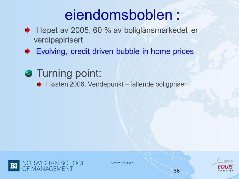 Sverre Knutsen 36 eiendomsboblen : I løpet av 2005, 60 % av boliglånsmarkedet er verdipapirisert Evolving, credit driven bubble in home prices Turning