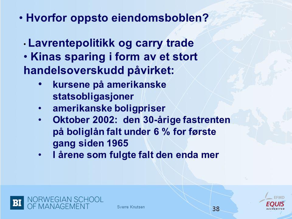 Sverre Knutsen 38 • Hvorfor oppsto eiendomsboblen? • Lavrentepolitikk og carry trade • Kinas sparing i form av et stort handelsoverskudd påvirket: • k