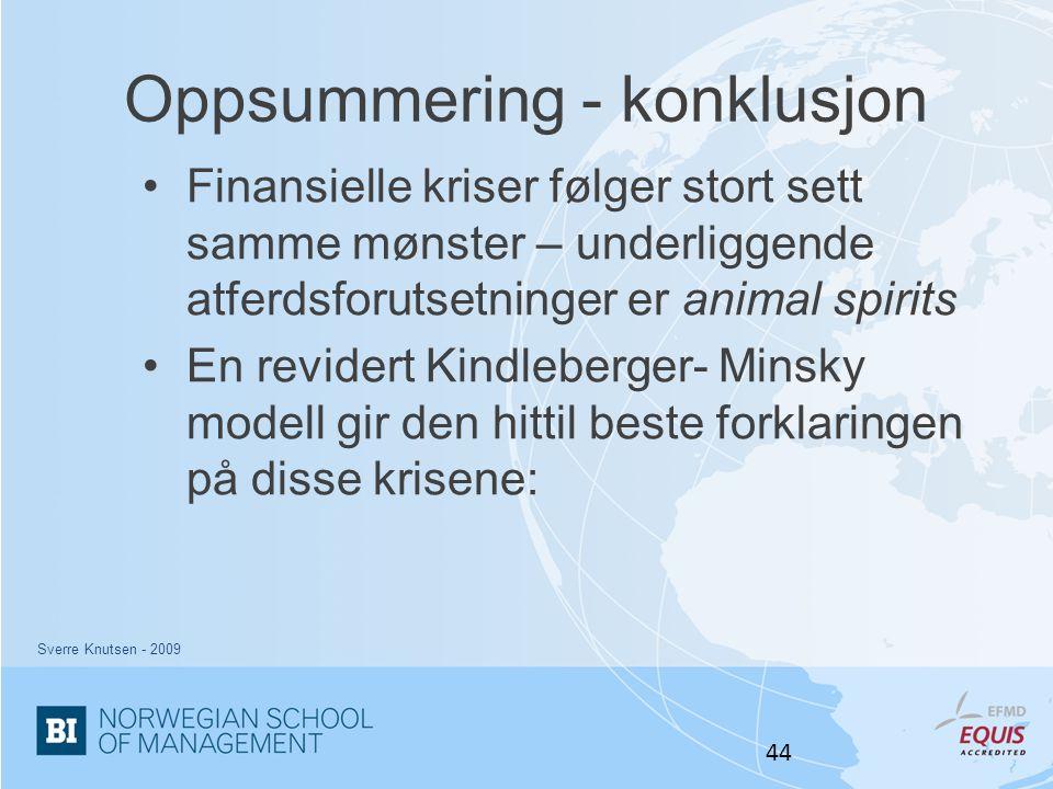 Sverre Knutsen - 2009 44 Oppsummering - konklusjon •Finansielle kriser følger stort sett samme mønster – underliggende atferdsforutsetninger er animal