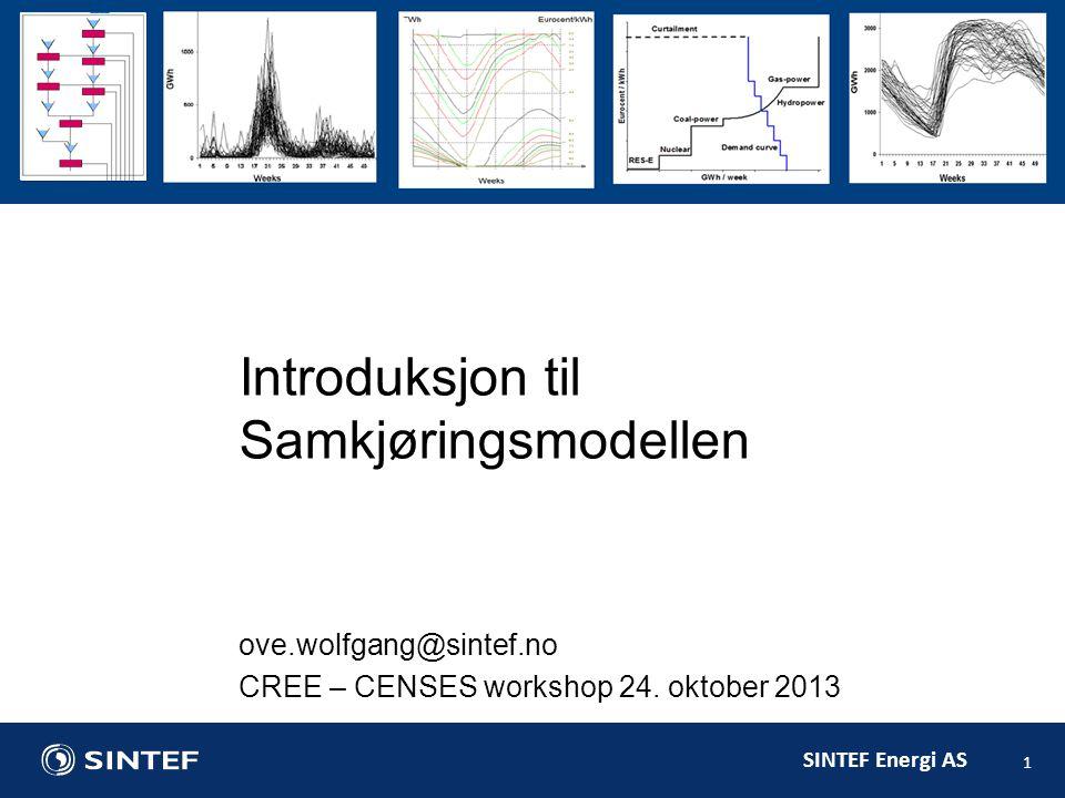 SINTEF Energi AS 1 Introduksjon til Samkjøringsmodellen ove.wolfgang@sintef.no CREE – CENSES workshop 24.
