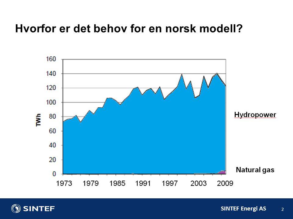SINTEF Energi AS 2 Hvorfor er det behov for en norsk modell?
