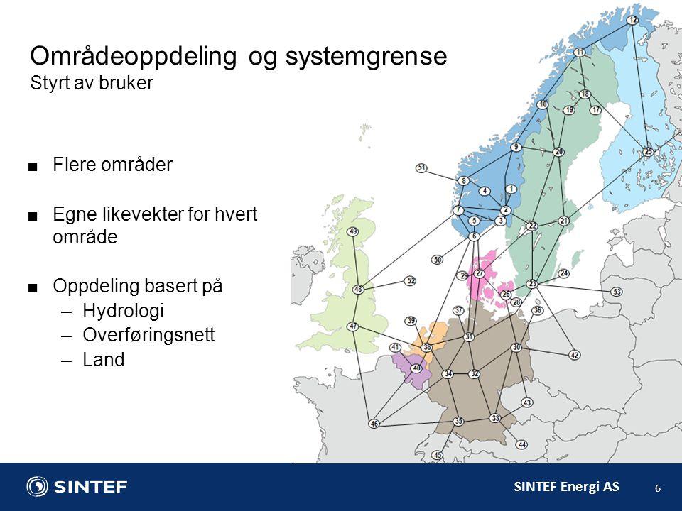 SINTEF Energi AS ■Flere områder ■Egne likevekter for hvert område ■Oppdeling basert på –Hydrologi –Overføringsnett –Land 6 Områdeoppdeling og systemgrense Styrt av bruker