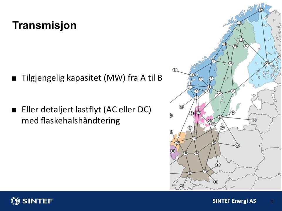 SINTEF Energi AS ■Termisk kraftproduksjon –Virkningsgrad / brensel –Kapasitet (MW), tilgjengelighet (%) –Startkostnad ■Rasjonering –Styrt utkobling pga.