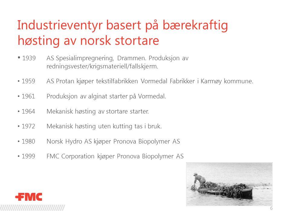 Industrieventyr basert på bærekraftig høsting av norsk stortare  Investert over 400 mill siste 3 år.
