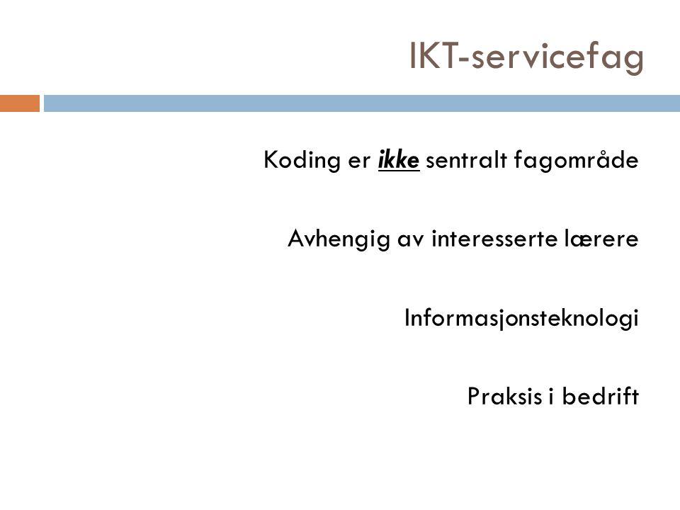 IKT-servicefag Koding er ikke sentralt fagområde Avhengig av interesserte lærere Informasjonsteknologi Praksis i bedrift