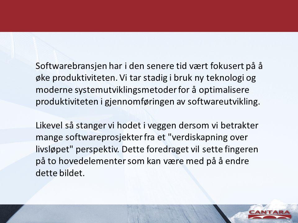 Softwarebransjen har i den senere tid vært fokusert på å øke produktiviteten. Vi tar stadig i bruk ny teknologi og moderne systemutviklingsmetoder for