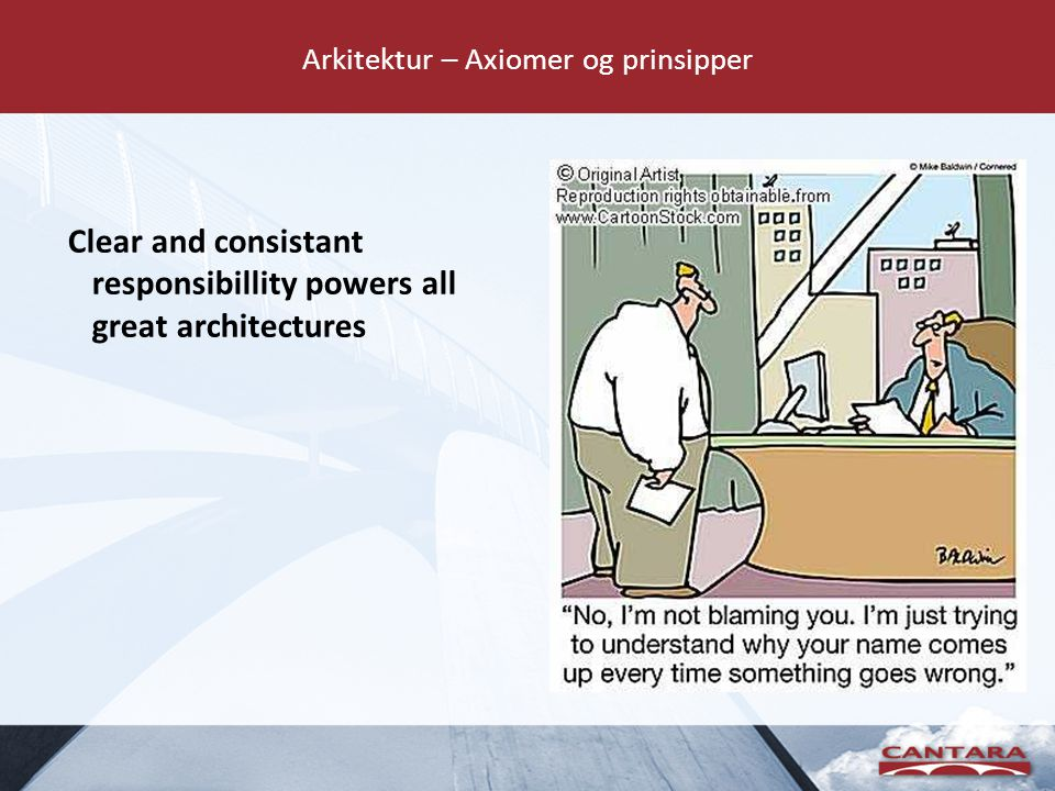 Arkitektur – Axiomer og prinsipper Clear and consistant responsibillity powers all great architectures