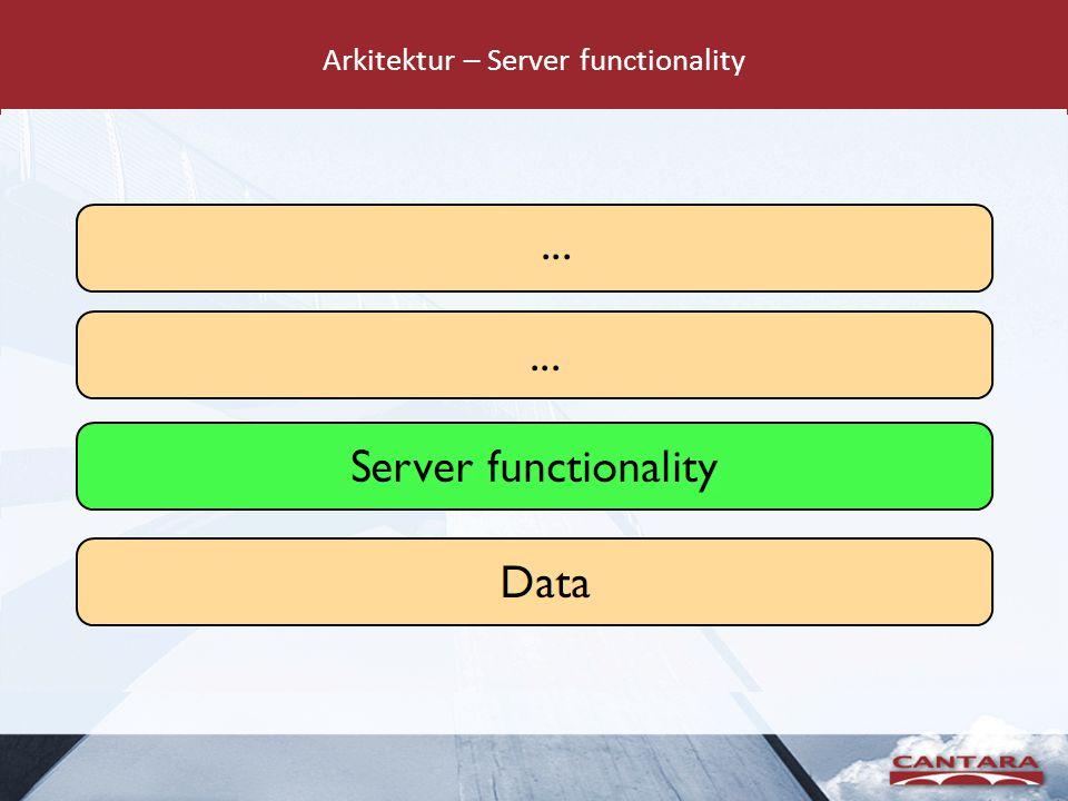 Arkitektur – Server functionality