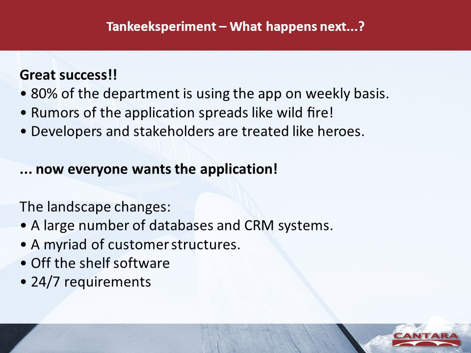Tankeeksperiment – What happens next...? Great success!! • 80% of the department is using the app on weekly basis. • Rumors of the application spreads
