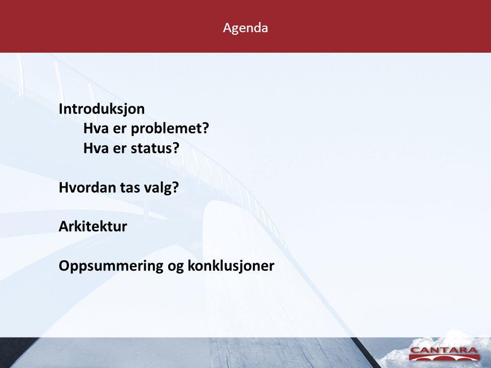 Agenda Introduksjon Hva er problemet? Hva er status? Hvordan tas valg? Arkitektur Oppsummering og konklusjoner