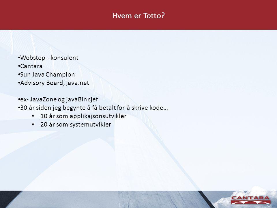 Hvordan tas valg – For mange alternativer RDBMS Soa WebLogic EJB ORM JPA JDO JINI Fat clients mobile clients TopLink SOA EJB Spring ORM JPA JDO JINI distributed systems ODBMS MVC chubby/smart thin clients clients OO SOP GRAILS ESB AOP CMS REST WebServices Mule Glassfish, Jetty, Tomcat Hibernate Oracle DB MySQL Derby RAILS JUnit TestNG AOP XFire Axis Spring WS Client server