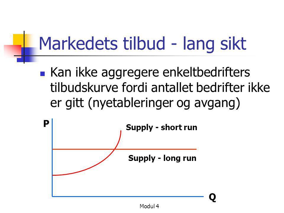 Modul 4 Markedets tilbud - lang sikt  Kan ikke aggregere enkeltbedrifters tilbudskurve fordi antallet bedrifter ikke er gitt (nyetableringer og avgan