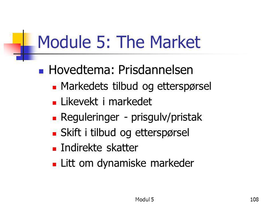 Modul 5108 Module 5: The Market  Hovedtema: Prisdannelsen  Markedets tilbud og etterspørsel  Likevekt i markedet  Reguleringer - prisgulv/pristak