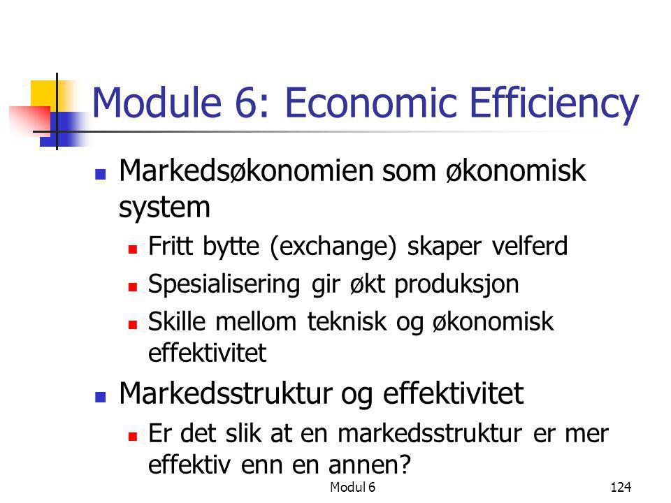 Modul 6124 Module 6: Economic Efficiency  Markedsøkonomien som økonomisk system  Fritt bytte (exchange) skaper velferd  Spesialisering gir økt prod