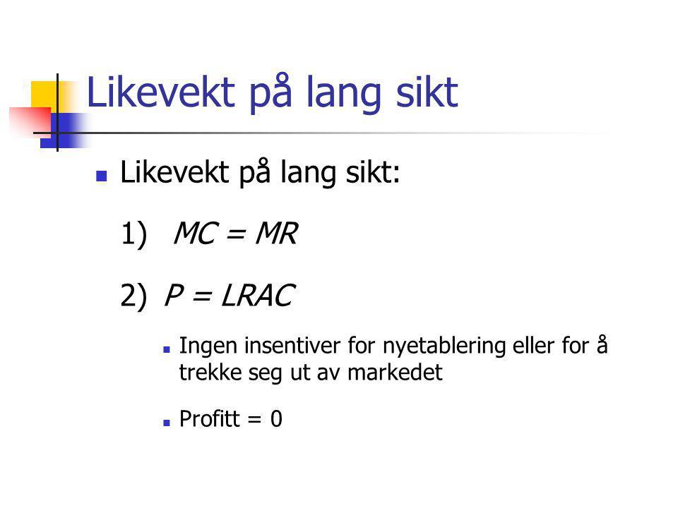 Likevekt på lang sikt  Likevekt på lang sikt: 1) MC = MR 2)P = LRAC  Ingen insentiver for nyetablering eller for å trekke seg ut av markedet  Profi