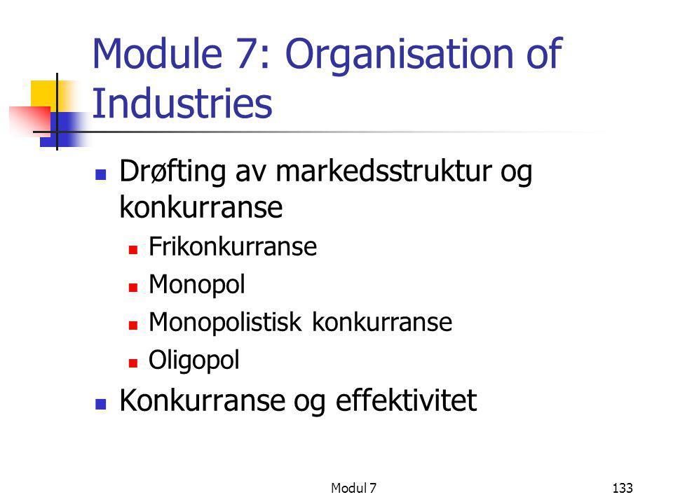 Modul 7133 Module 7: Organisation of Industries  Drøfting av markedsstruktur og konkurranse  Frikonkurranse  Monopol  Monopolistisk konkurranse 
