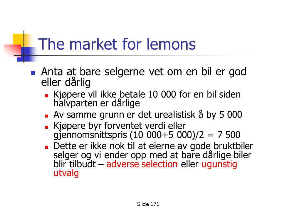 Slide 171 The market for lemons  Anta at bare selgerne vet om en bil er god eller dårlig  Kjøpere vil ikke betale 10 000 for en bil siden halvparten