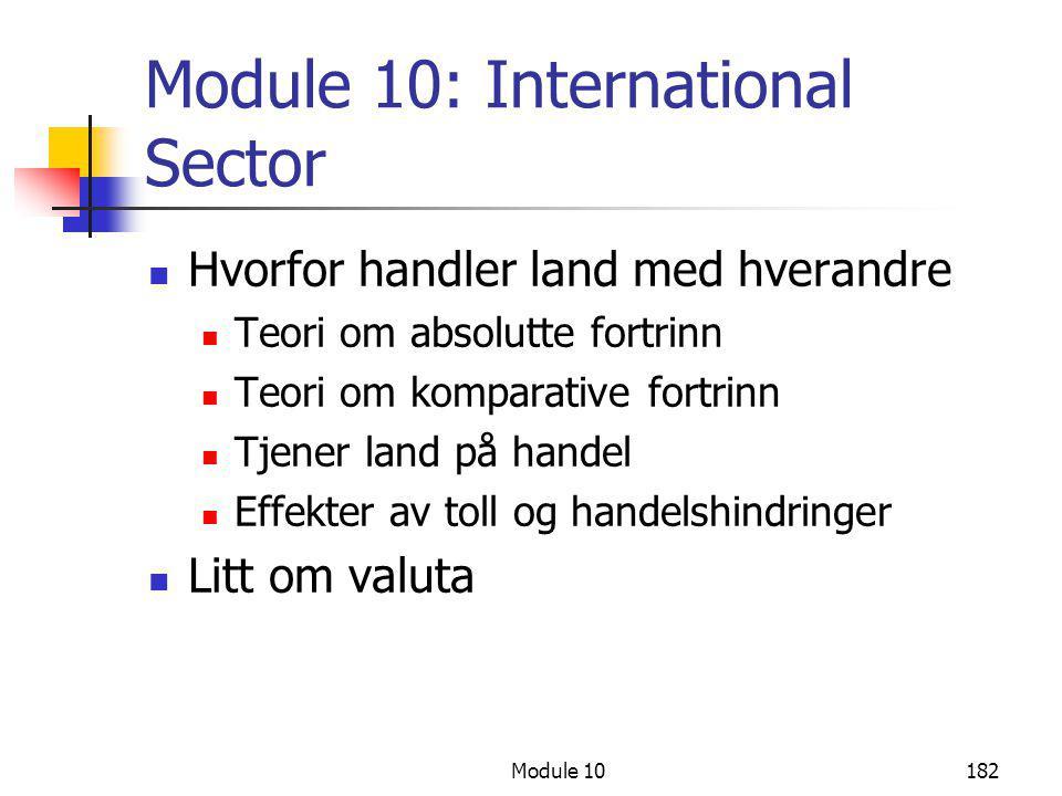 Module 10182 Module 10: International Sector  Hvorfor handler land med hverandre  Teori om absolutte fortrinn  Teori om komparative fortrinn  Tjen