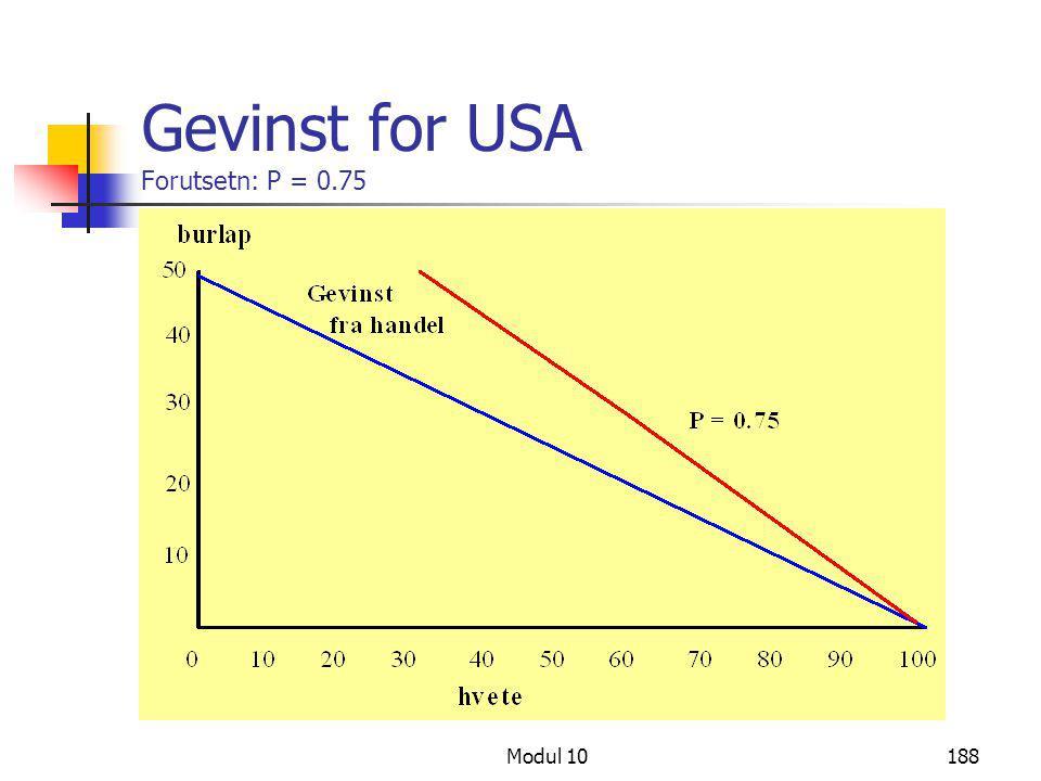 Modul 10188 Gevinst for USA Forutsetn: P = 0.75