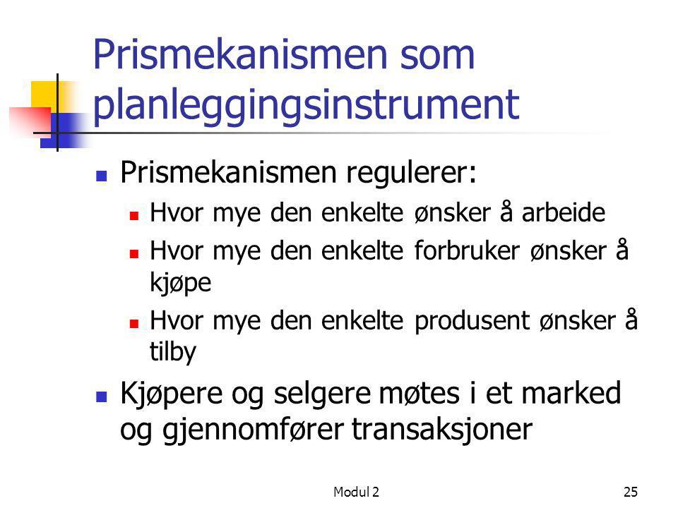 Modul 225 Prismekanismen som planleggingsinstrument  Prismekanismen regulerer:  Hvor mye den enkelte ønsker å arbeide  Hvor mye den enkelte forbruk