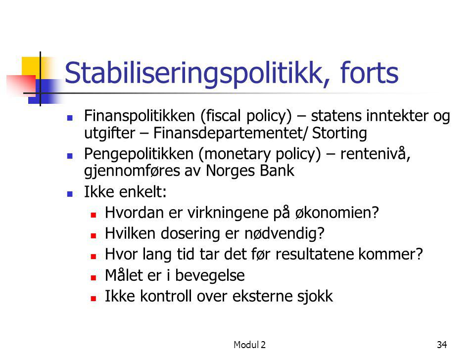 Modul 234 Stabiliseringspolitikk, forts  Finanspolitikken (fiscal policy) – statens inntekter og utgifter – Finansdepartementet/ Storting  Pengepoli
