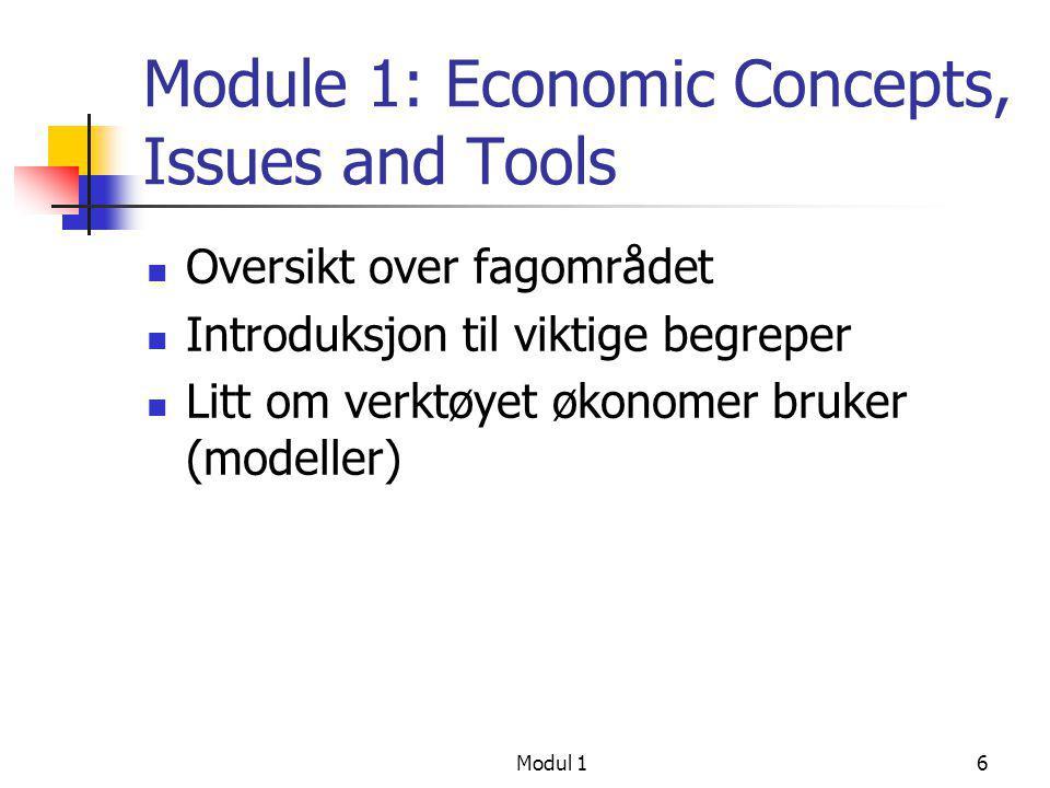 Modul 16 Module 1: Economic Concepts, Issues and Tools  Oversikt over fagområdet  Introduksjon til viktige begreper  Litt om verktøyet økonomer bru