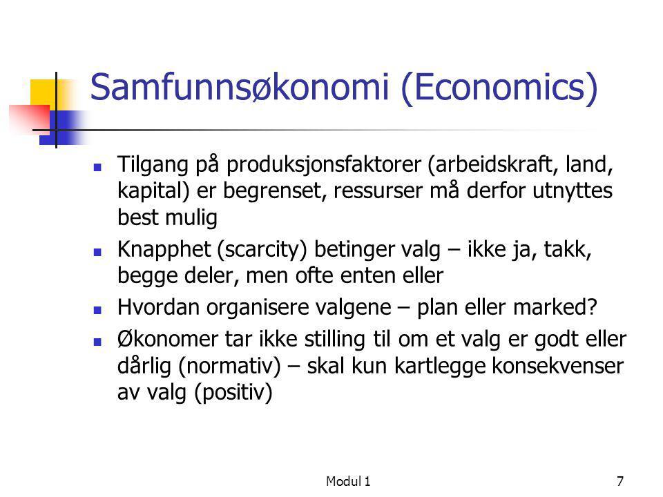 Modul 218 Oppdeling av fagområdet  Makroøkonomi – økonomien som et hele  Økonomisk vekst (økning i BNP)  Sysselsetting og arbeidsledighet  Inflasjon (prisstigning)  Betalingsbalanse og valuta  Mikroøkonomi – delmarkeder i økonomien  Konsumentteori  Produksjonsteori  Markedsteori