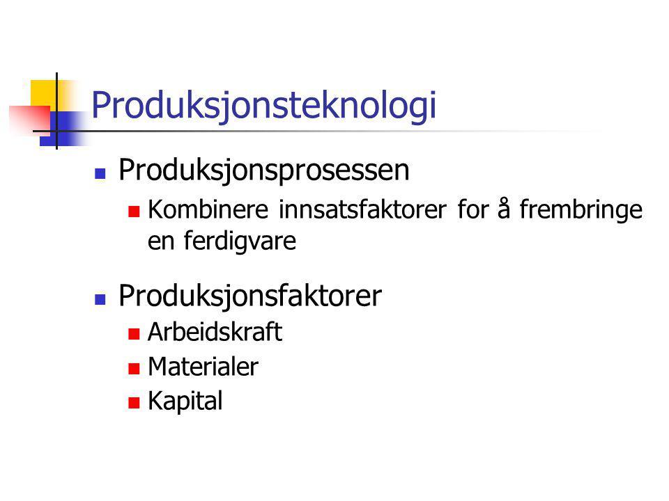 Produksjonsteknologi  Produksjonsprosessen  Kombinere innsatsfaktorer for å frembringe en ferdigvare  Produksjonsfaktorer  Arbeidskraft  Material