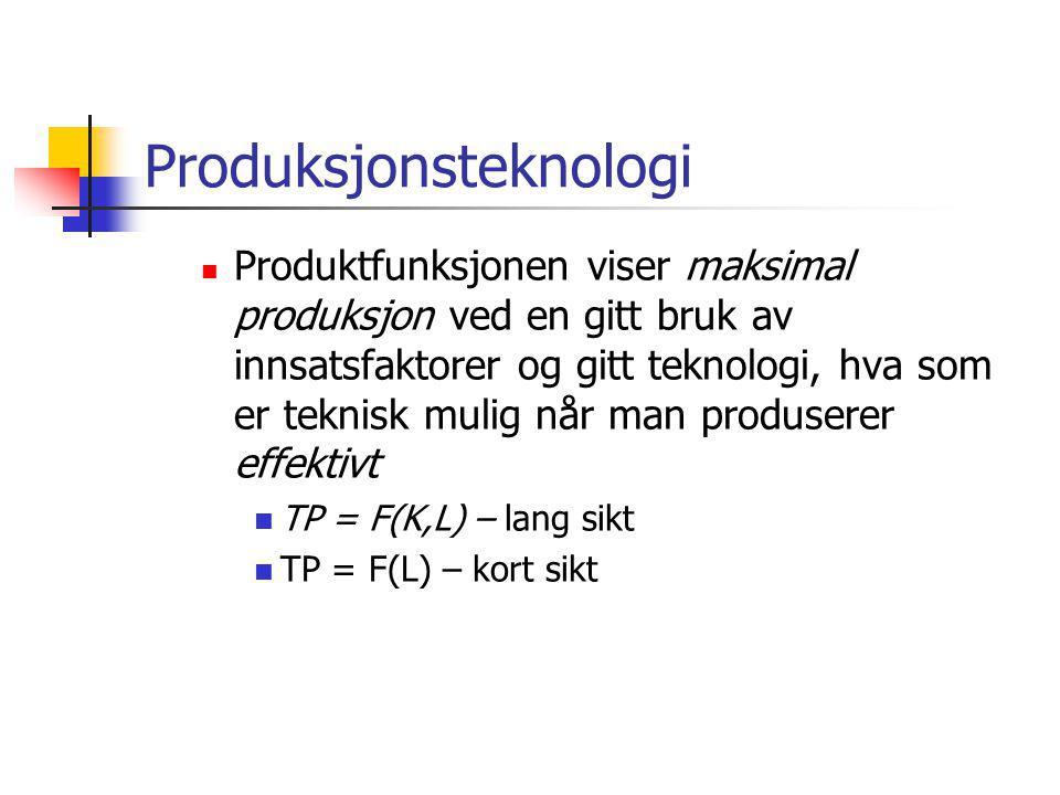 Produksjonsteknologi  Produktfunksjonen viser maksimal produksjon ved en gitt bruk av innsatsfaktorer og gitt teknologi, hva som er teknisk mulig når