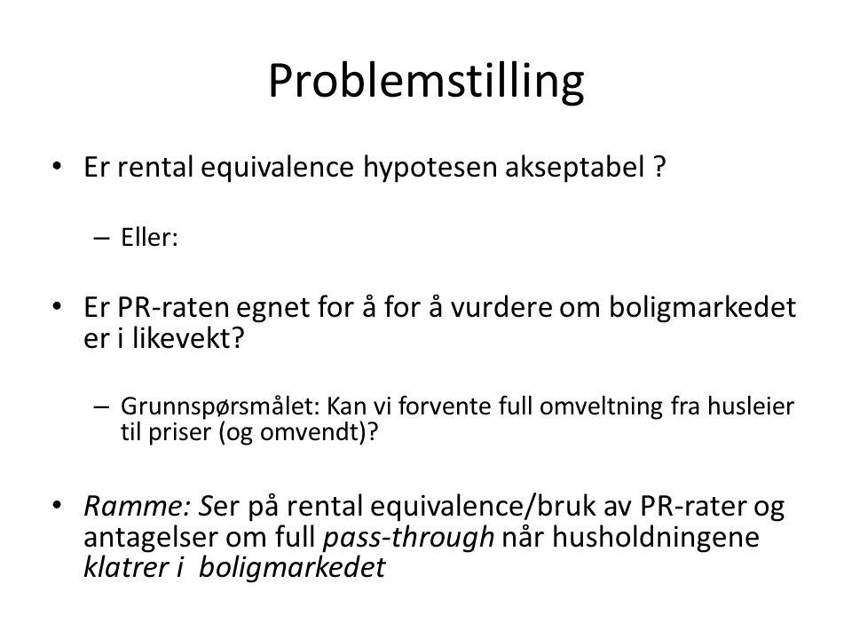 Problemstilling • Er rental equivalence hypotesen akseptabel .