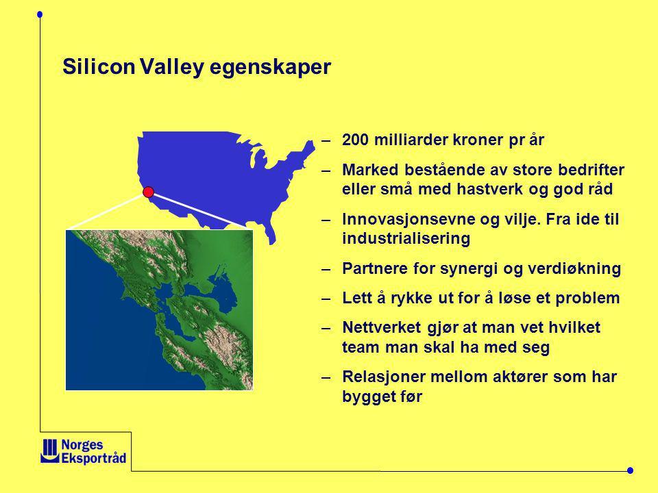 Silicon Valley egenskaper –200 milliarder kroner pr år –Marked bestående av store bedrifter eller små med hastverk og god råd –Innovasjonsevne og vilje.