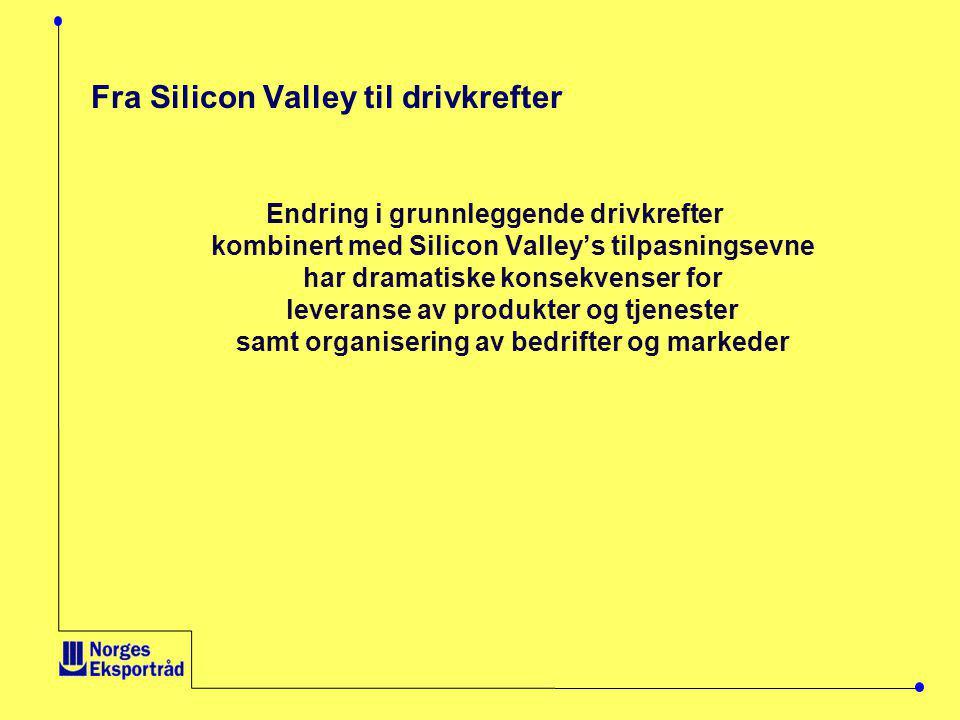 Fra Silicon Valley til drivkrefter Endring i grunnleggende drivkrefter kombinert med Silicon Valley's tilpasningsevne har dramatiske konsekvenser for leveranse av produkter og tjenester samt organisering av bedrifter og markeder