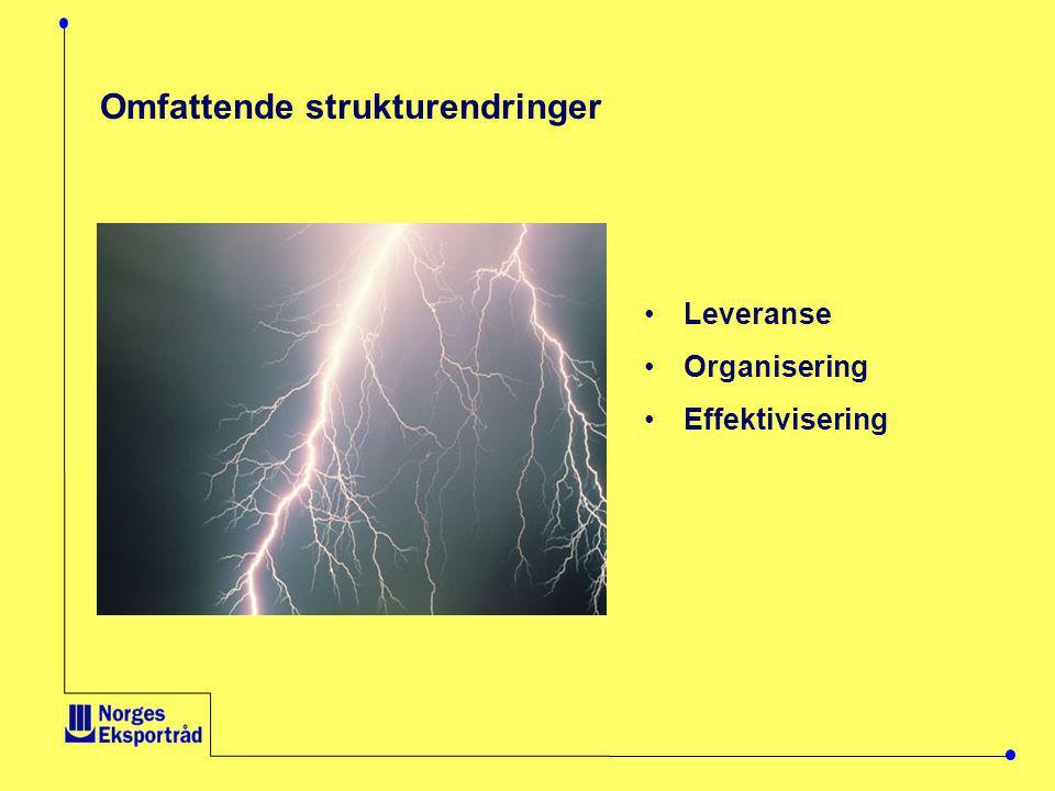 •Leveranse •Organisering •Effektivisering Omfattende strukturendringer