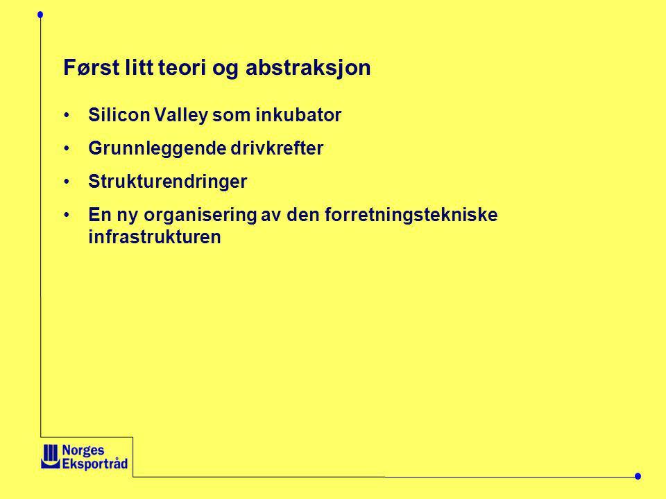 Først litt teori og abstraksjon •Silicon Valley som inkubator •Grunnleggende drivkrefter •Strukturendringer •En ny organisering av den forretningstekniske infrastrukturen