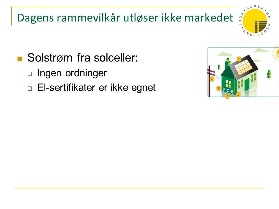 Dagens rammevilkår utløser ikke markedet  Solstrøm fra solceller:  Ingen ordninger  El-sertifikater er ikke egnet