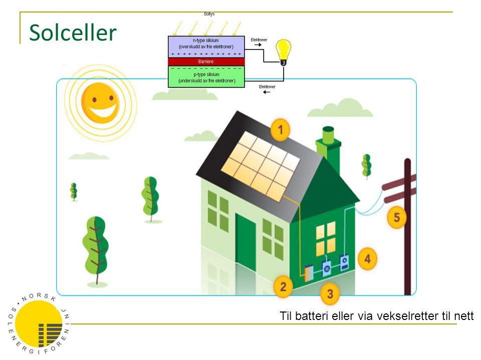 Solceller Til batteri eller via vekselretter til nett