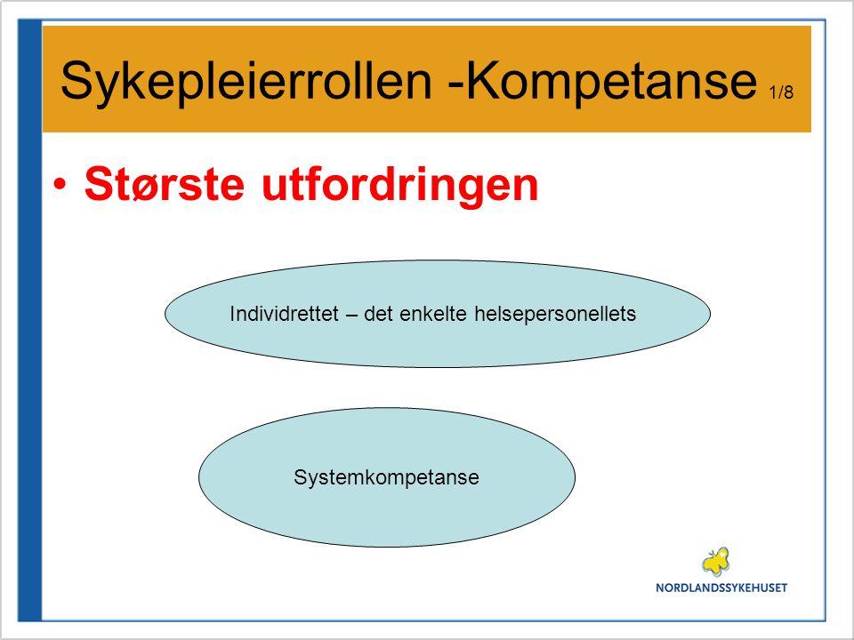 Sykepleierrollen -Kompetanse 1/8 •Største utfordringen Individrettet – det enkelte helsepersonellets Systemkompetanse
