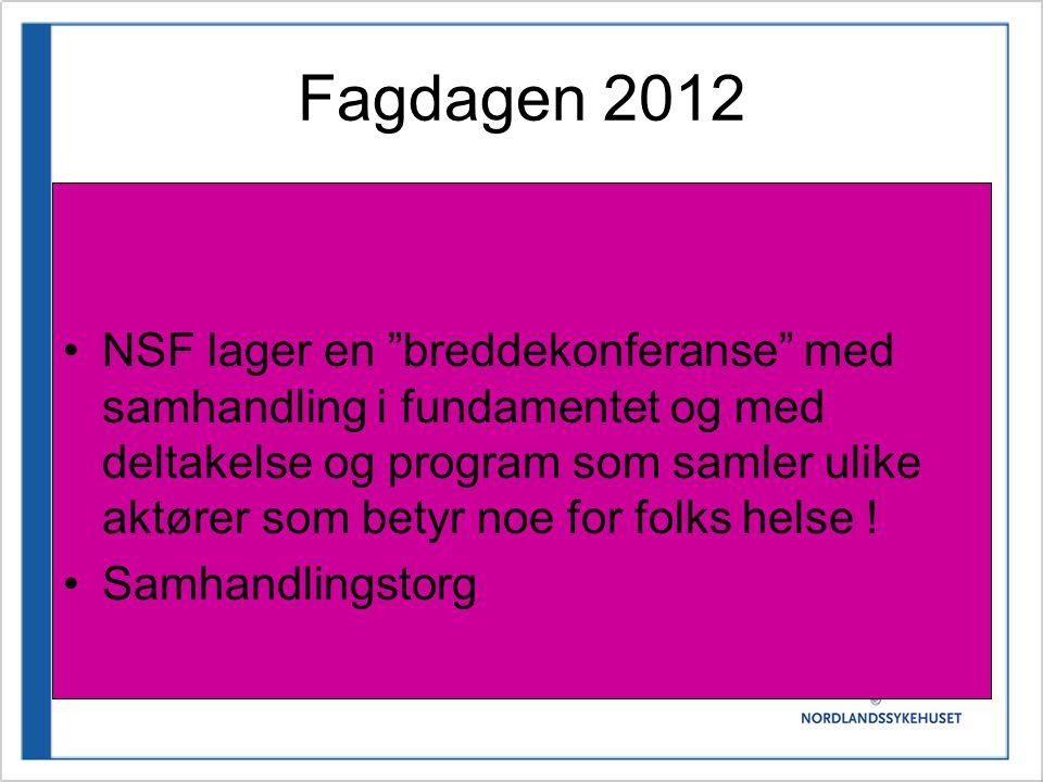 Fagdagen 2012 •NSF lager en breddekonferanse med samhandling i fundamentet og med deltakelse og program som samler ulike aktører som betyr noe for folks helse .