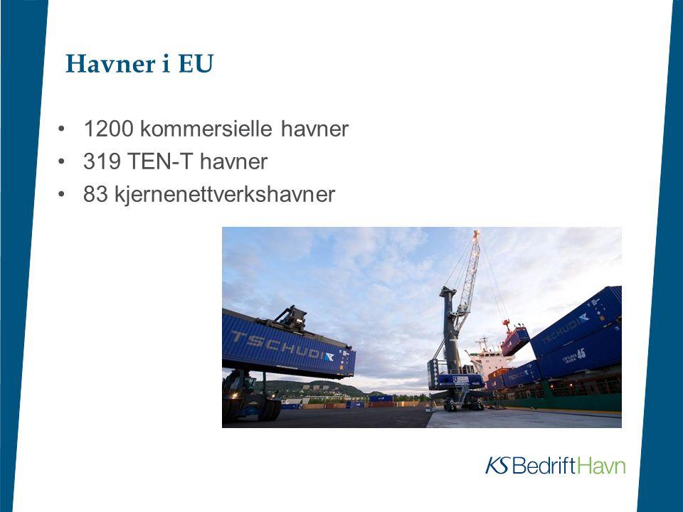 Havner i EU •1200 kommersielle havner •319 TEN-T havner •83 kjernenettverkshavner