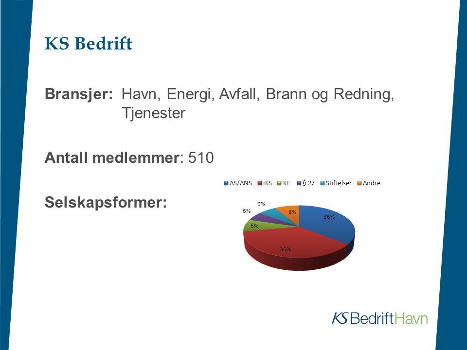 KS Bedrift Bransjer: Havn, Energi, Avfall, Brann og Redning, Tjenester Antall medlemmer: 510 Selskapsformer:
