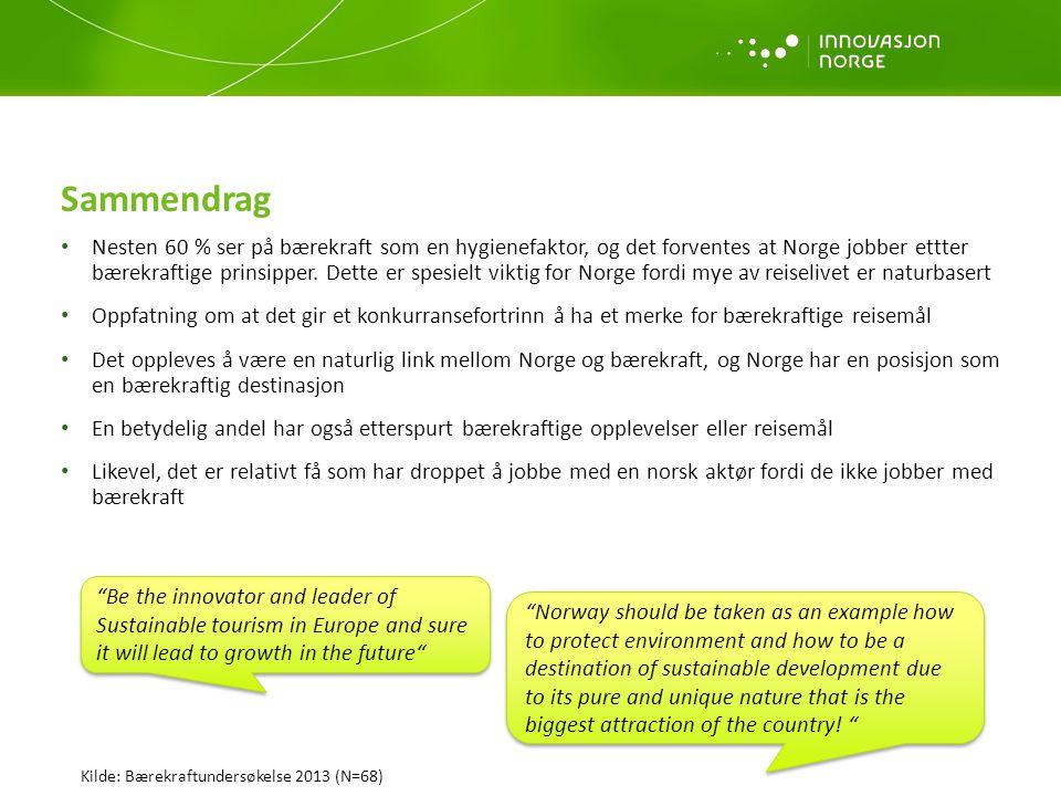 Sammendrag • Nesten 60 % ser på bærekraft som en hygienefaktor, og det forventes at Norge jobber ettter bærekraftige prinsipper. Dette er spesielt vik